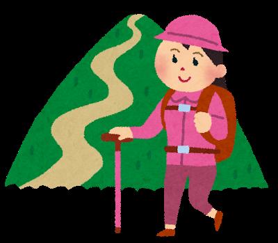 そこに山があるから登山する女性の画像